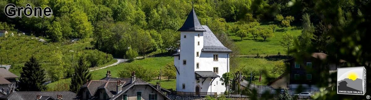 Swiss Sun Valais ® richesse patrimoniale du village de Grône. Château MORESTEL. 1er réseau immobilier du Valais ®