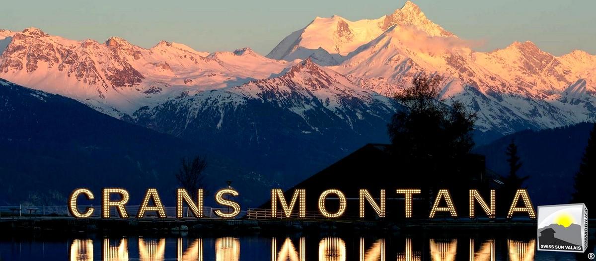 Swiss Sun Valais ® vue nocturne depuis depuis l'étang GRENON. 1er réseau immobilier du Valais ®