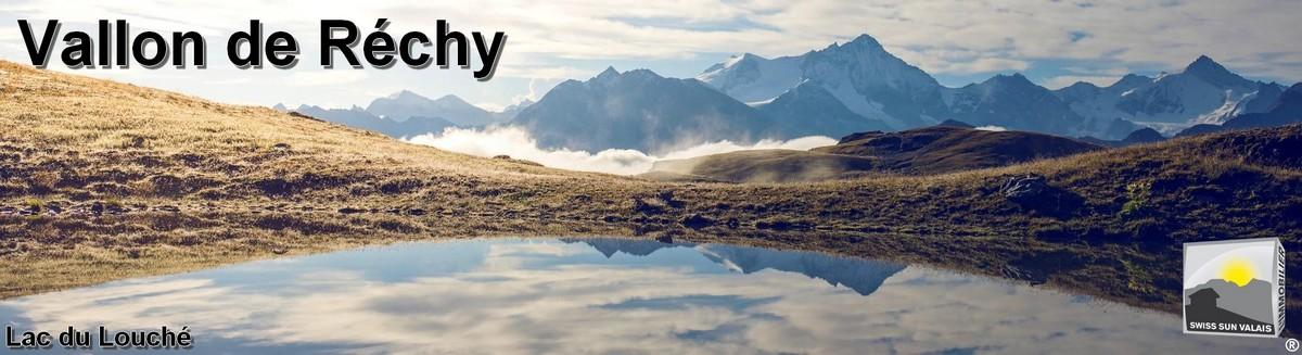 Swiss Sun Valais ® Magnifique vue depuis le lac du Louché/ Vallon de Réchy. 1er réseau immobilier du Valais ®